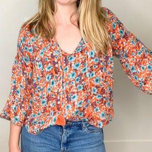 Lovestitch Orange and Blue Floral Tassel Top